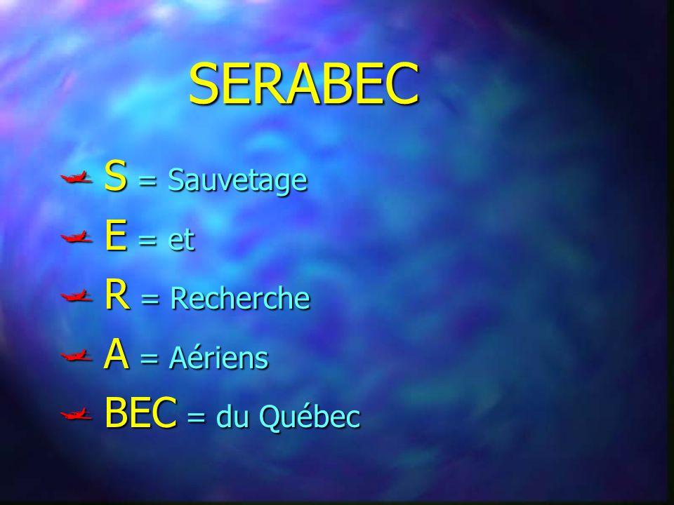 SERABEC S = Sauvetage S = Sauvetage E = et E = et R = Recherche R = Recherche A = Aériens A = Aériens BEC = du Québec BEC = du Québec