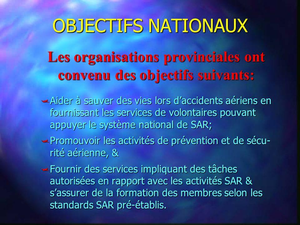 OBJECTIFS NATIONAUX Aider à sauver des vies lors daccidents aériens en fournissant les services de volontaires pouvant appuyer le système national de