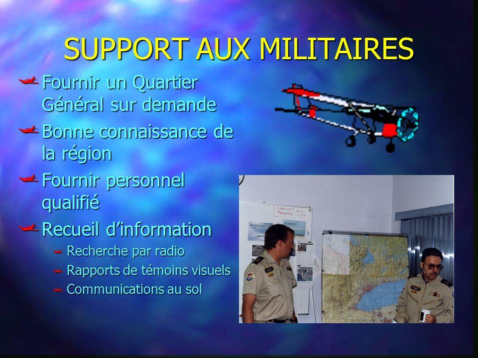SUPPORT AUX MILITAIRES Fournir un Quartier Général sur demande Fournir un Quartier Général sur demande Bonne connaissance de la région Bonne connaissa