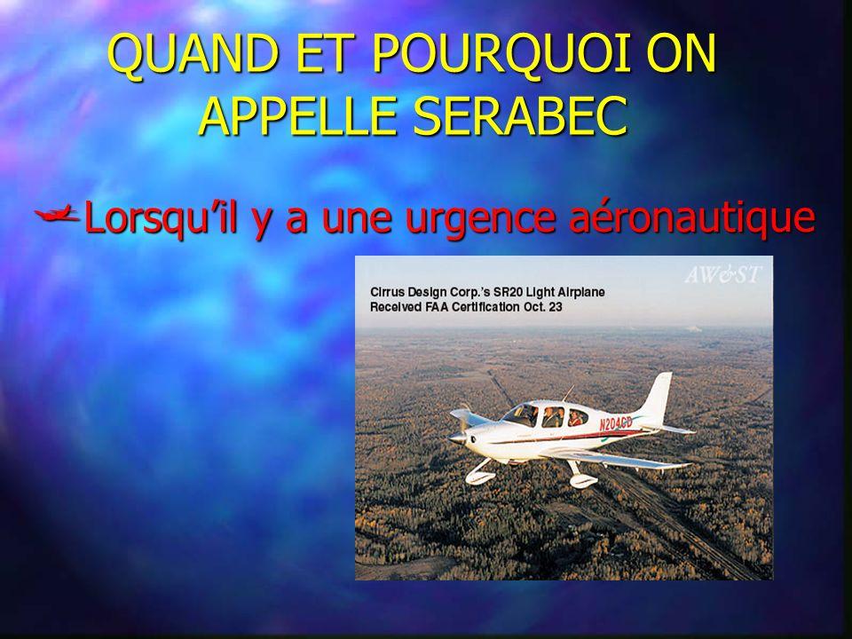 QUAND ET POURQUOI ON APPELLE SERABEC Lorsquil y a une urgence aéronautique Lorsquil y a une urgence aéronautique