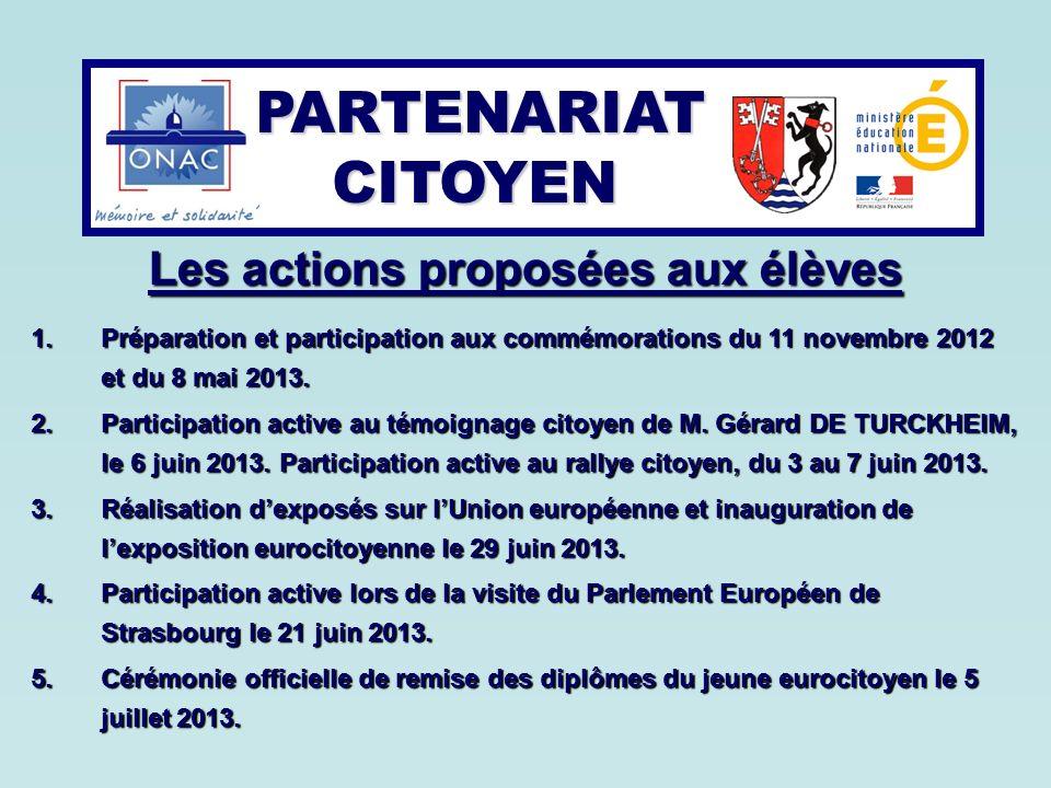 Les actions proposées aux élèves 1.Préparation et participation aux commémorations du 11 novembre 2012 et du 8 mai 2013.