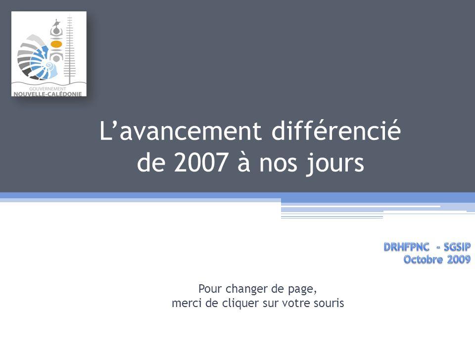 Lavancement différencié de 2007 à nos jours Pour changer de page, merci de cliquer sur votre souris