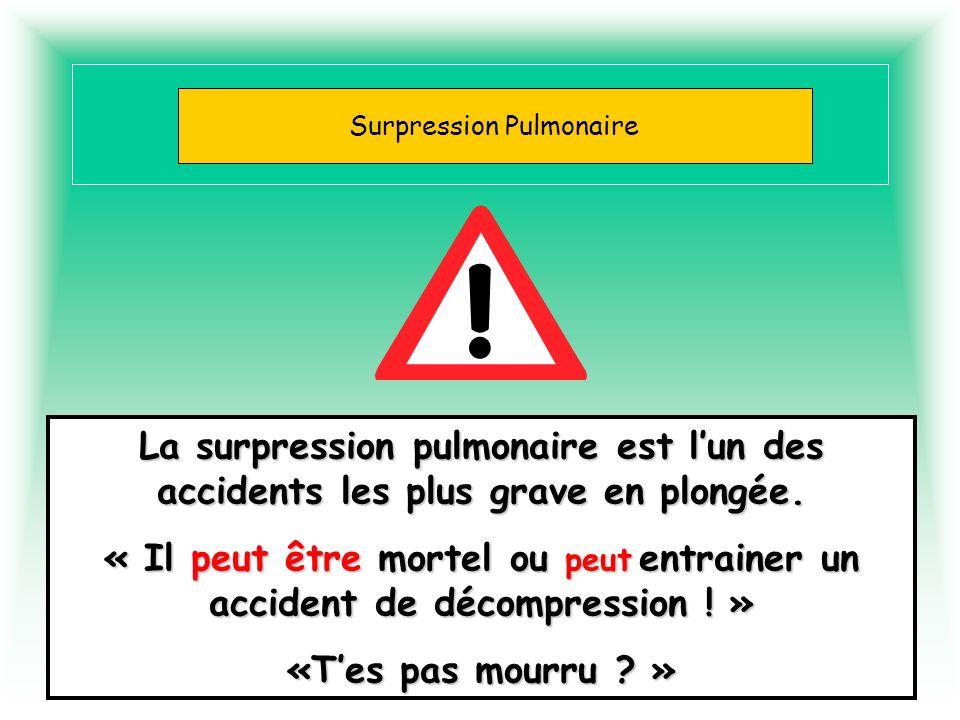 Barotraumatismes La surpression pulmonaire est lun des accidents les plus grave en plongée. « Il peut être mortel ou peut entrainer un accident de déc