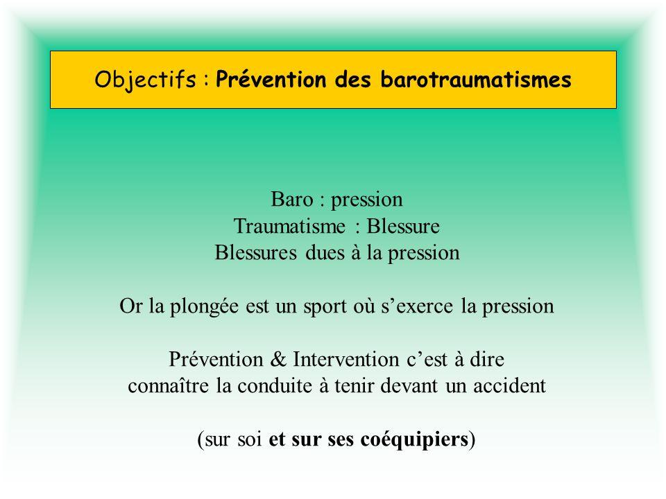Objectifs : Prévention des barotraumatismes Baro : pression Traumatisme : Blessure Blessures dues à la pression Or la plongée est un sport où sexerce