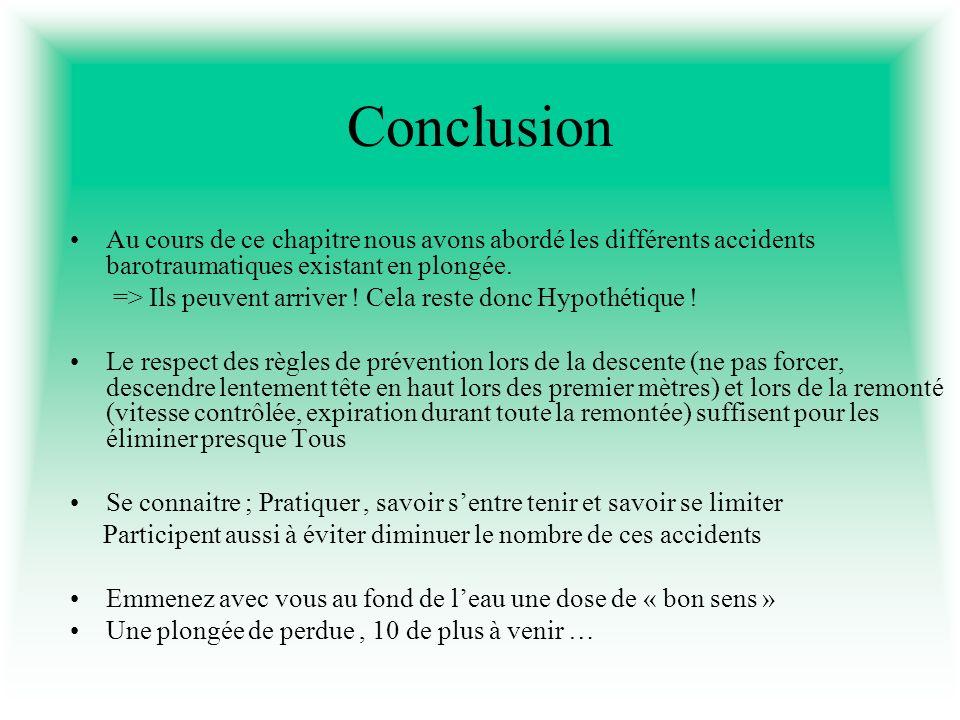 Conclusion Au cours de ce chapitre nous avons abordé les différents accidents barotraumatiques existant en plongée. => Ils peuvent arriver ! Cela rest