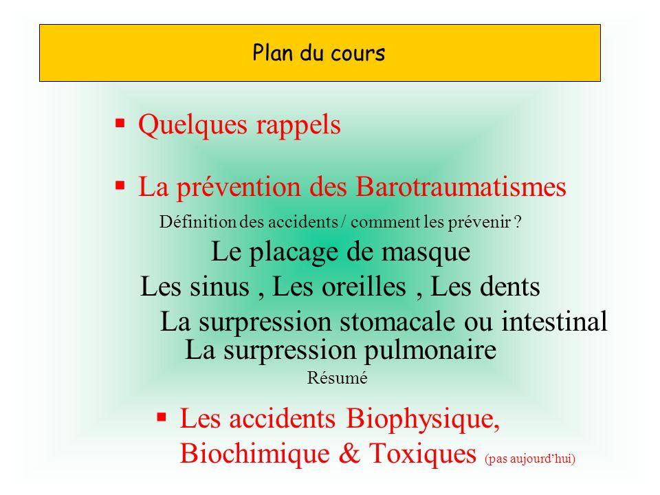 Les accidents Biophysique, Biochimique & Toxiques (pas aujourdhui) Quelques rappels La prévention des Barotraumatismes Définition des accidents / comm