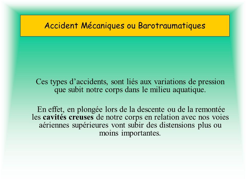 Accident Mécaniques ou Barotraumatiques Ces types daccidents, sont liés aux variations de pression que subit notre corps dans le milieu aquatique. En