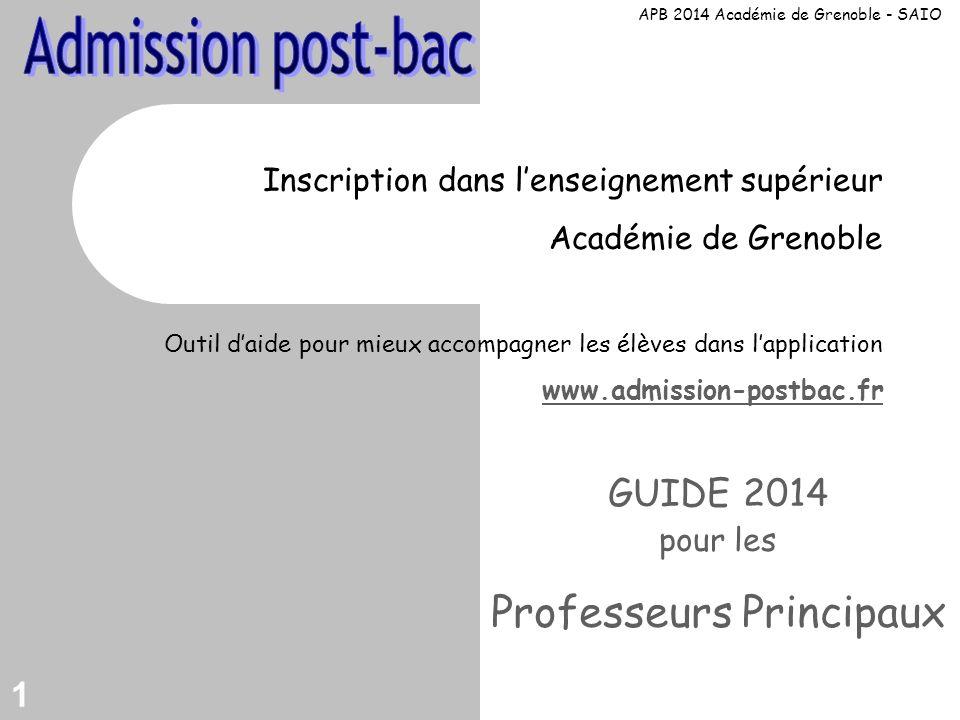 1 Inscription dans lenseignement supérieur Académie de Grenoble Outil daide pour mieux accompagner les élèves dans lapplication www.admission-postbac.