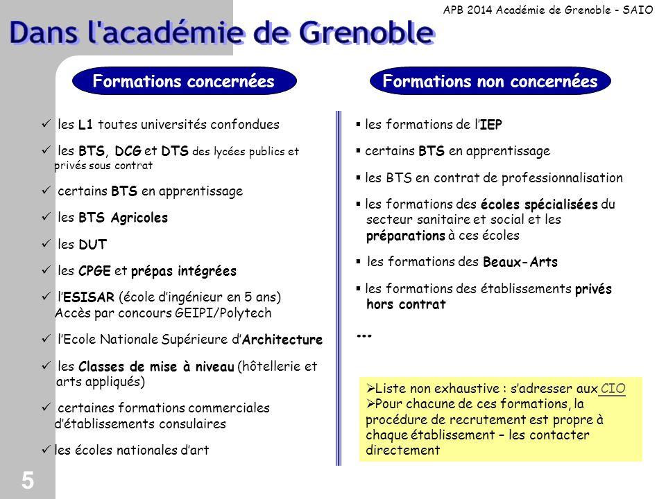 5 les L1 toutes universités confondues les BTS, DCG et DTS des lycées publics et privés sous contrat certains BTS en apprentissage les BTS Agricoles l
