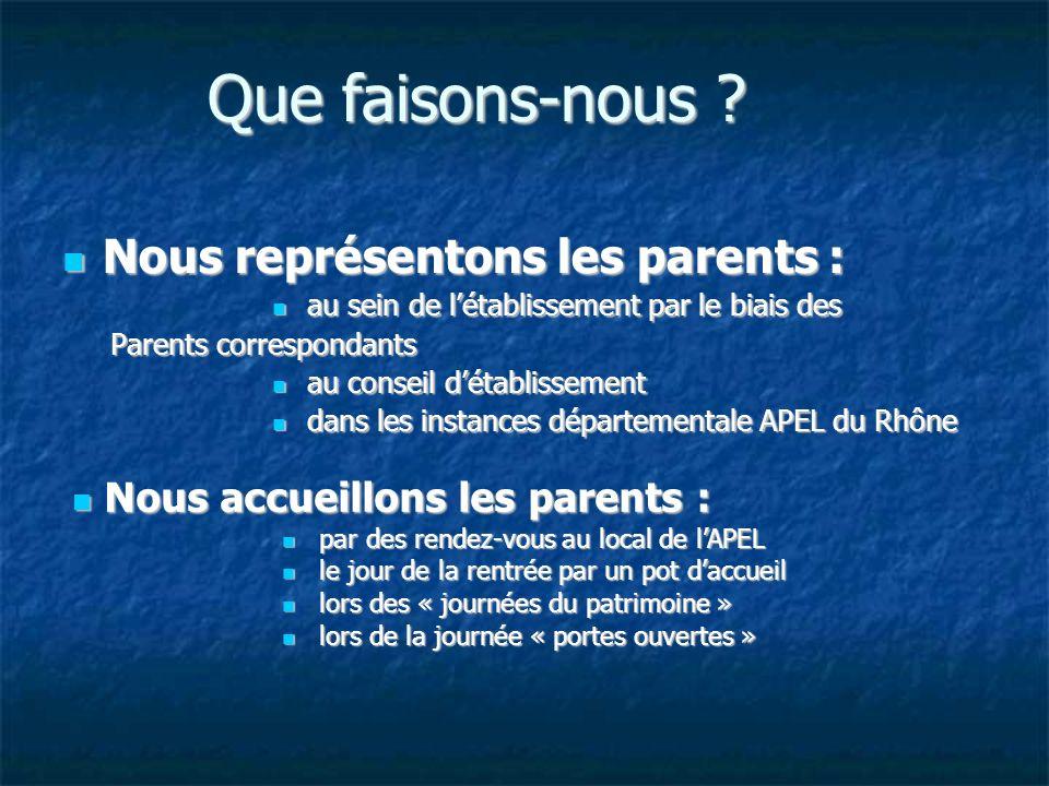 Rôle du parent correspondant Le parent correspondant représente TOUTES les familles et non pas SON enfant.