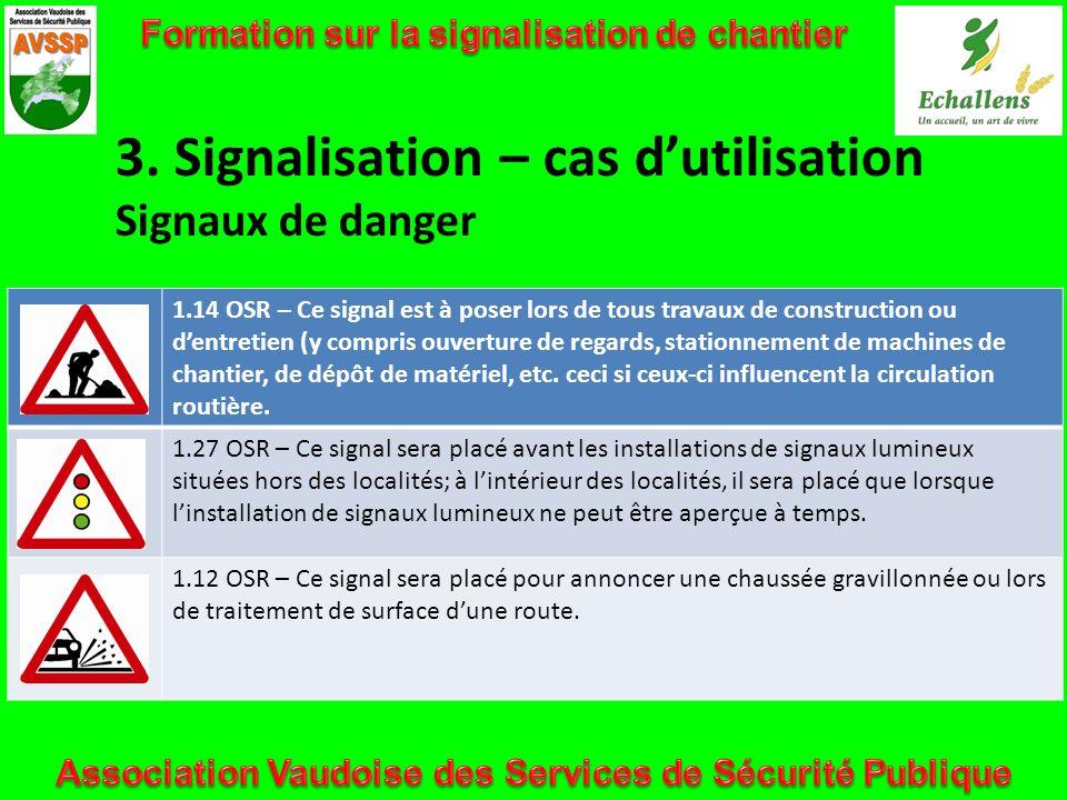 3. Signalisation – cas dutilisation Signaux de danger 1.14 OSR – Ce signal est à poser lors de tous travaux de construction ou dentretien (y compris o
