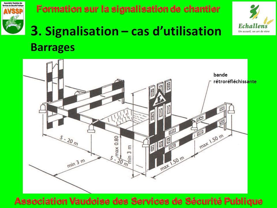 bande rétroréfléchissante 3. Signalisation – cas dutilisation Barrages