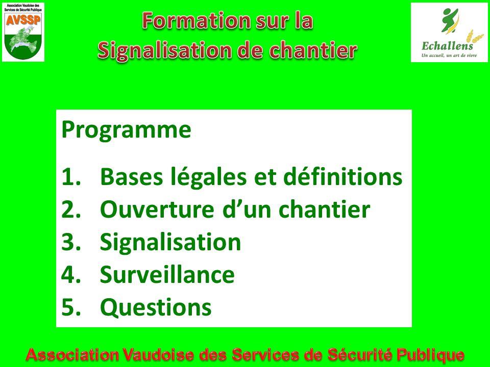 Programme 1.Bases légales et définitions 2.Ouverture dun chantier 3.Signalisation 4.Surveillance 5.Questions