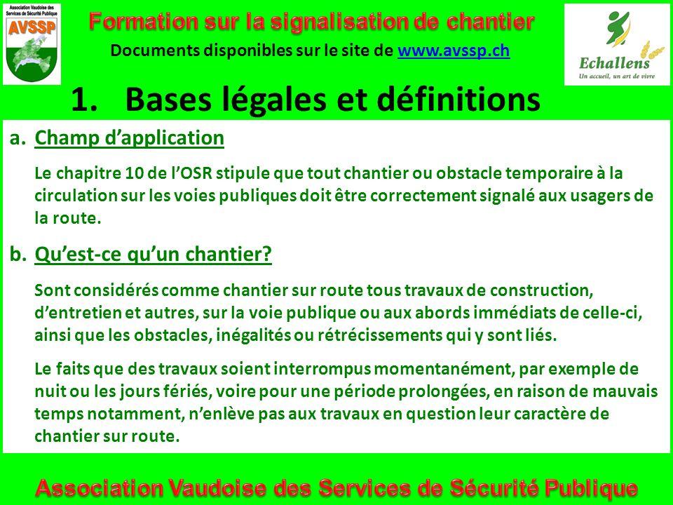 1.Bases légales et définitions Documents disponibles sur le site de www.avssp.chwww.avssp.ch a.Champ dapplication Le chapitre 10 de lOSR stipule que t