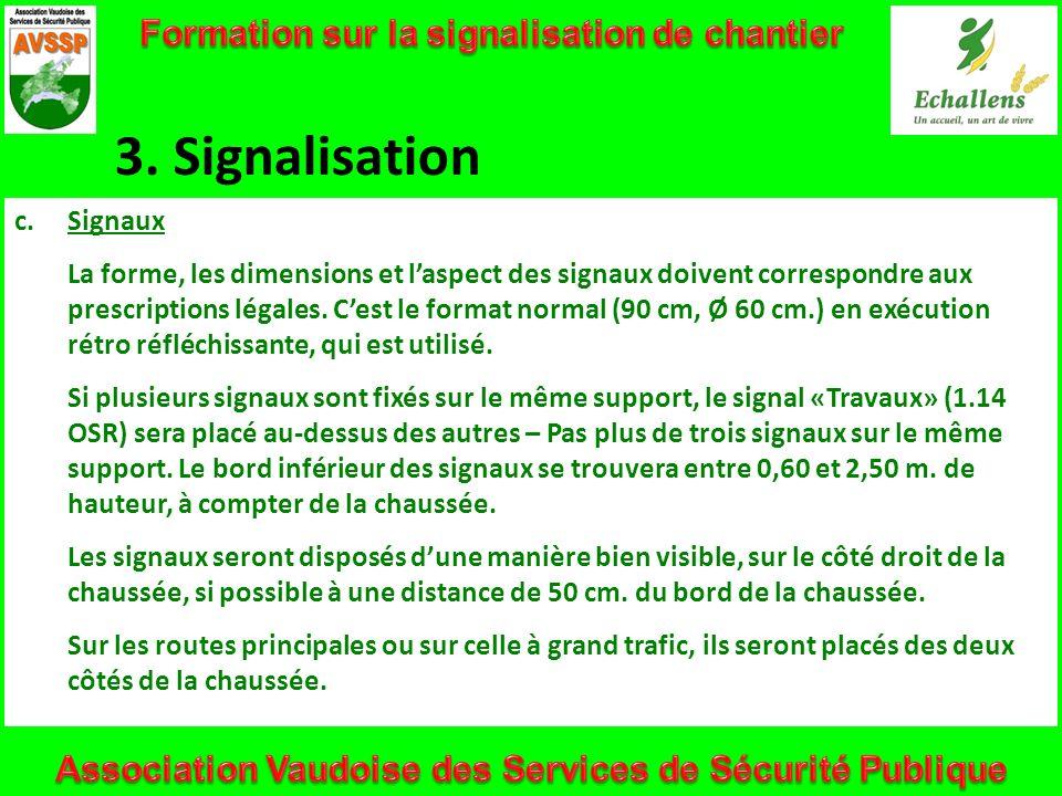 3. Signalisation c.Signaux La forme, les dimensions et laspect des signaux doivent correspondre aux prescriptions légales. Cest le format normal (90 c