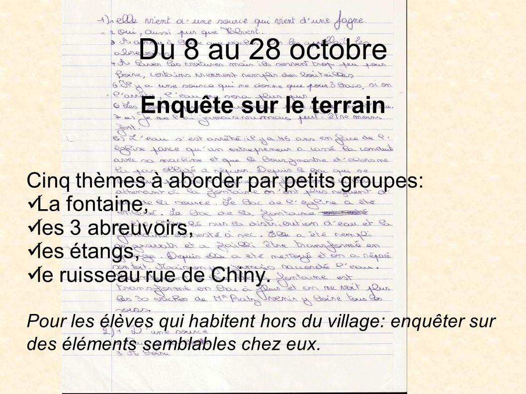 Du 8 au 28 octobre Enquête sur le terrain Cinq thèmes à aborder par petits groupes: La fontaine, les 3 abreuvoirs, les étangs, le ruisseau rue de Chiny.