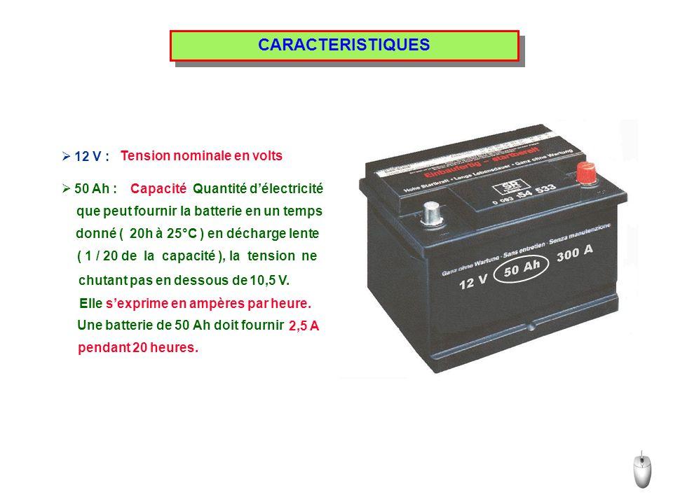 CARACTERISTIQUES 12 V : Tension nominale en volts 50 Ah : Capacité Quantité délectricité que peut fournir la batterie en un temps donné ( 20h à 25°C ) en décharge lente ( 1 / 20 de la capacité ), la tension ne chutant pas en dessous de 10,5 V.