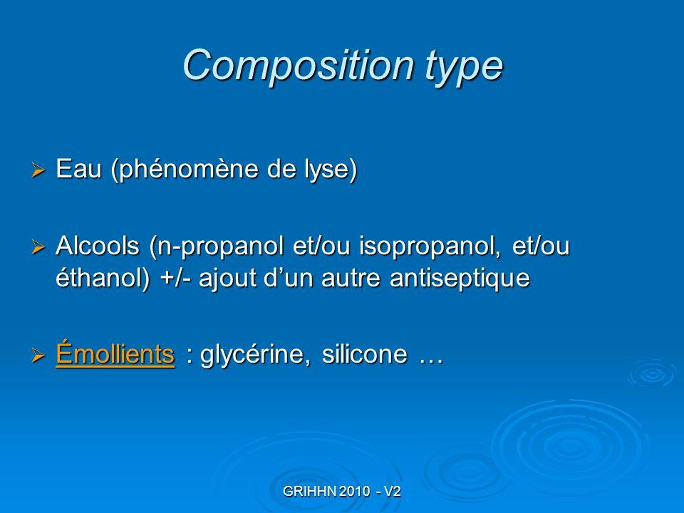GRIHHN 2010 - V2 Composition type Eau (phénomène de lyse) Eau (phénomène de lyse) Alcools (n-propanol et/ou isopropanol, et/ou éthanol) +/- ajout dun
