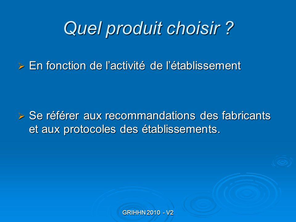 GRIHHN 2010 - V2 Quel produit choisir ? En fonction de lactivité de létablissement En fonction de lactivité de létablissement Se référer aux recommand