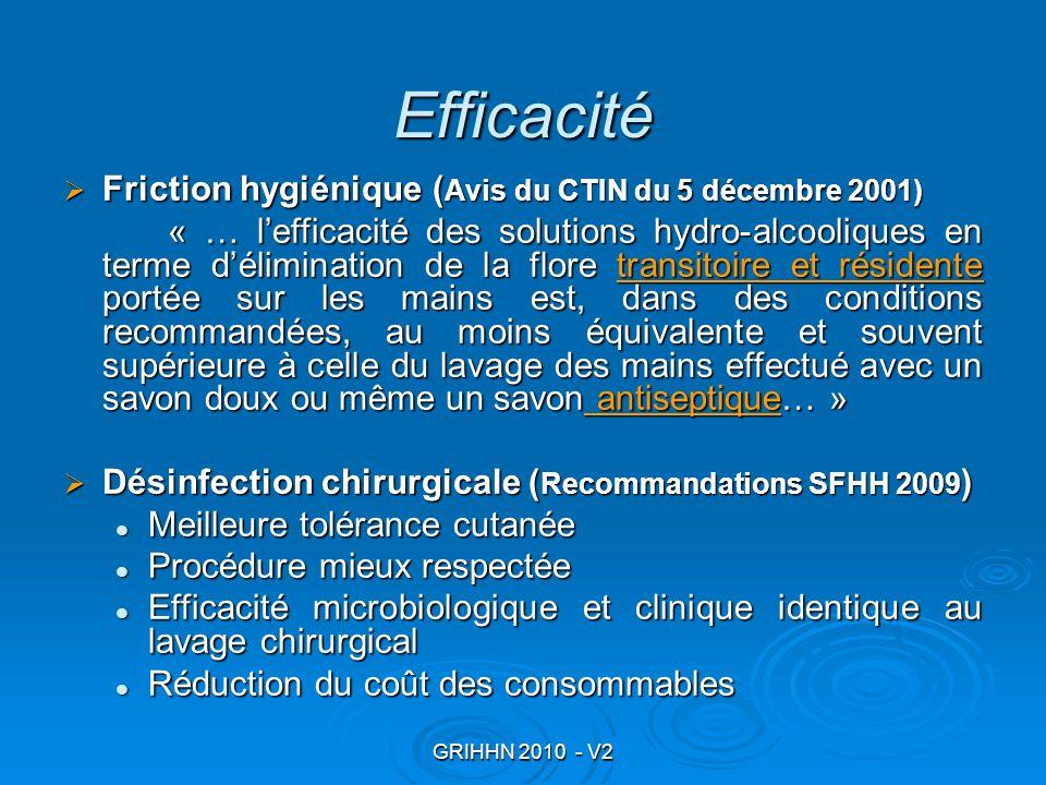 GRIHHN 2010 - V2 Efficacité Friction hygiénique ( Avis du CTIN du 5 décembre 2001) Friction hygiénique ( Avis du CTIN du 5 décembre 2001) « … lefficac