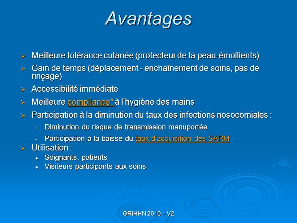 GRIHHN 2010 - V2 Avantages Meilleure tolérance cutanée (protecteur de la peau-émollients) Meilleure tolérance cutanée (protecteur de la peau-émollient