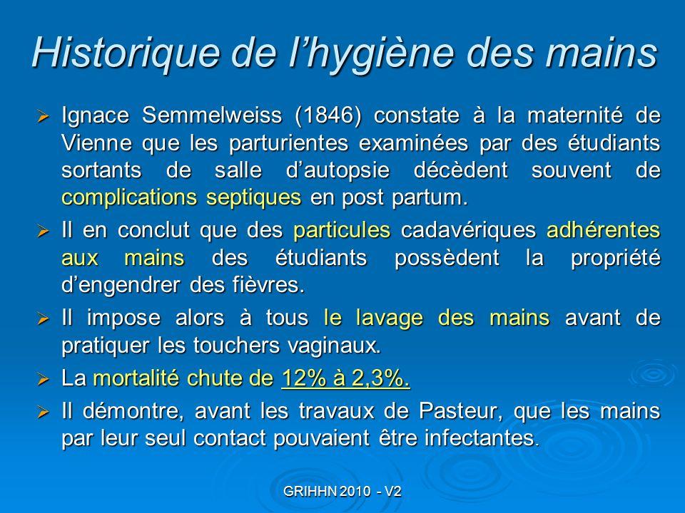GRIHHN 2010 - V2 Historique de lhygiène des mains Ignace Semmelweiss (1846) constate à la maternité de Vienne que les parturientes examinées par des é