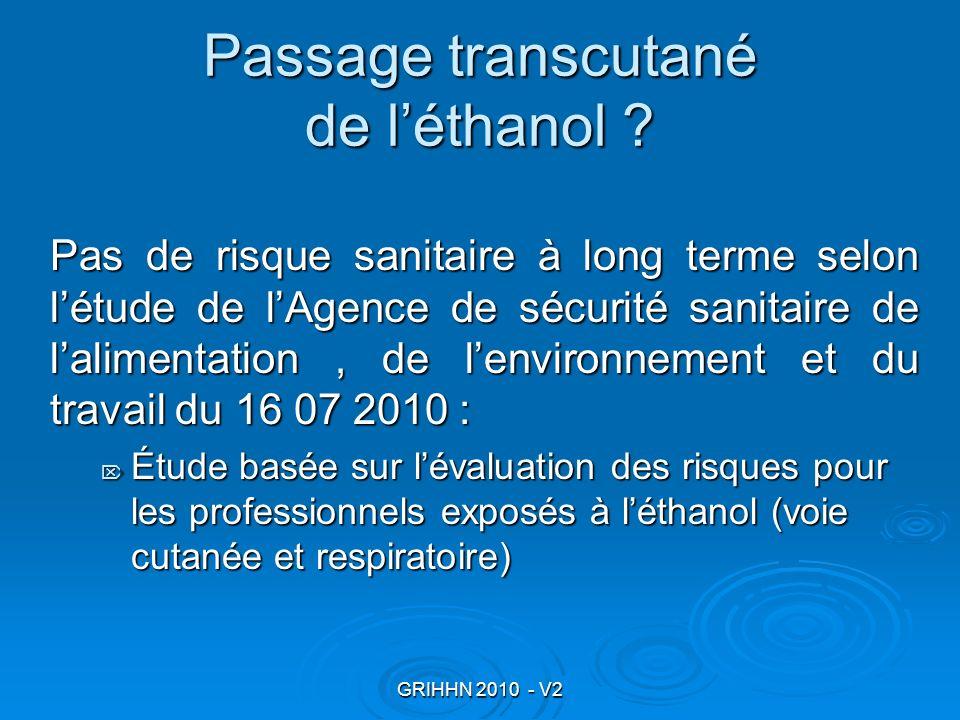 GRIHHN 2010 - V2 Passage transcutané de léthanol ? Pas de risque sanitaire à long terme selon létude de lAgence de sécurité sanitaire de lalimentation