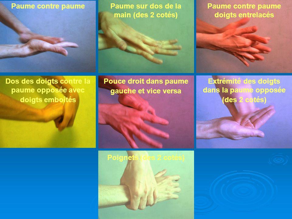 GRIHHN 2010 - V2 Paume contre paumePaume sur dos de la main (des 2 cotés) Paume contre paume doigts entrelacés Pouce droit dans paume gauche et vice v