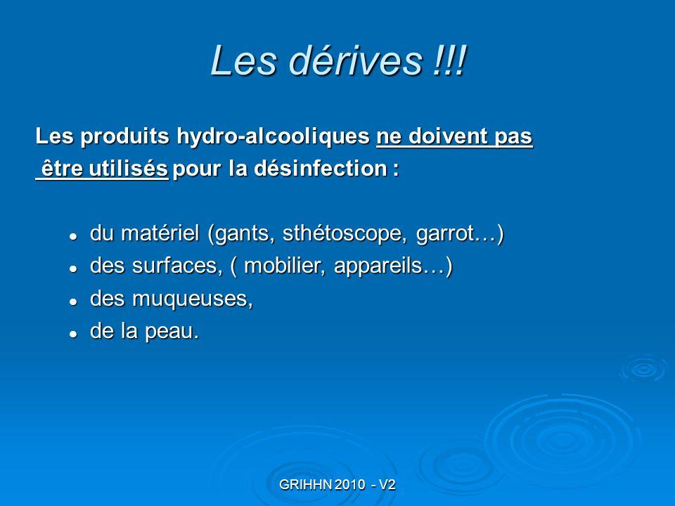 GRIHHN 2010 - V2 Les dérives !!! Les produits hydro-alcooliques ne doivent pas être utilisés pour la désinfection : être utilisés pour la désinfection