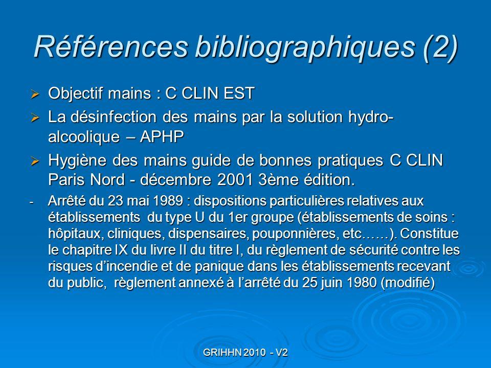 GRIHHN 2010 - V2 Références bibliographiques (2) Objectif mains : C CLIN EST Objectif mains : C CLIN EST La désinfection des mains par la solution hyd