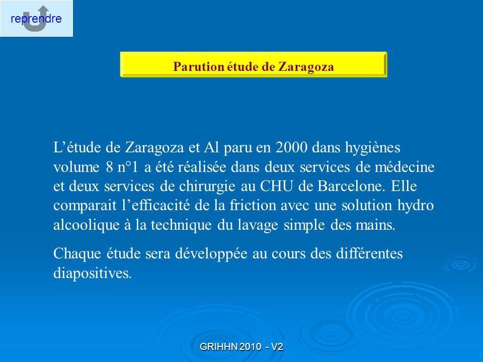 GRIHHN 2010 - V2 Létude de Zaragoza et Al paru en 2000 dans hygiènes volume 8 n°1 a été réalisée dans deux services de médecine et deux services de ch