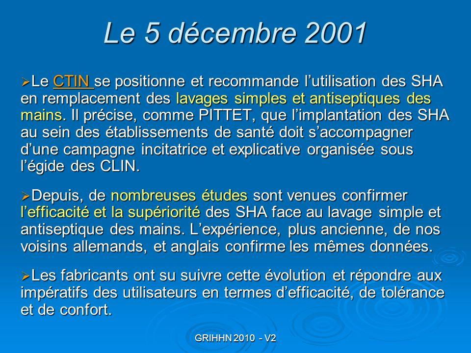 GRIHHN 2010 - V2 Le 5 décembre 2001 Le CTIN se positionne et recommande lutilisation des SHA en remplacement des lavages simples et antiseptiques des