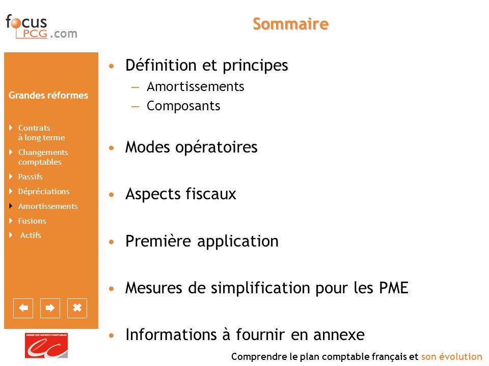 .com Comprendre le plan comptable français et son évolution Grandes réformes Contrats à long terme Changements comptables Passifs Dépréciations Amortissements Fusions Actifs Mesure de simplification pour les PME Qui est concerné .