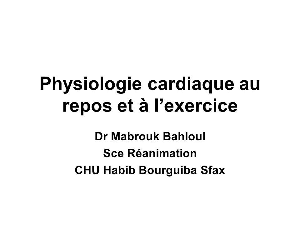 Physiologie cardiaque au repos et à lexercice Dr Mabrouk Bahloul Sce Réanimation CHU Habib Bourguiba Sfax