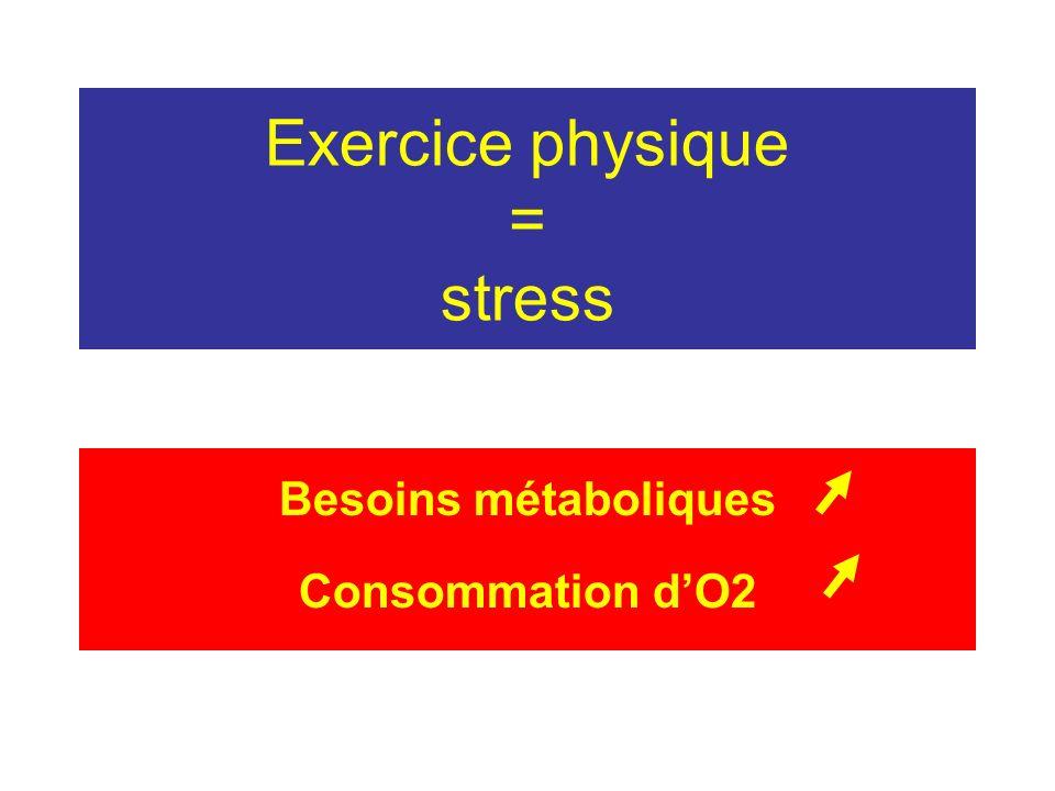 Exercice physique = stress Besoins métaboliques Consommation dO2