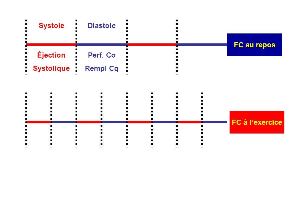FC à lexercice Systole FC au repos Diastole Perf. Co Rempl Cq Éjection Systolique