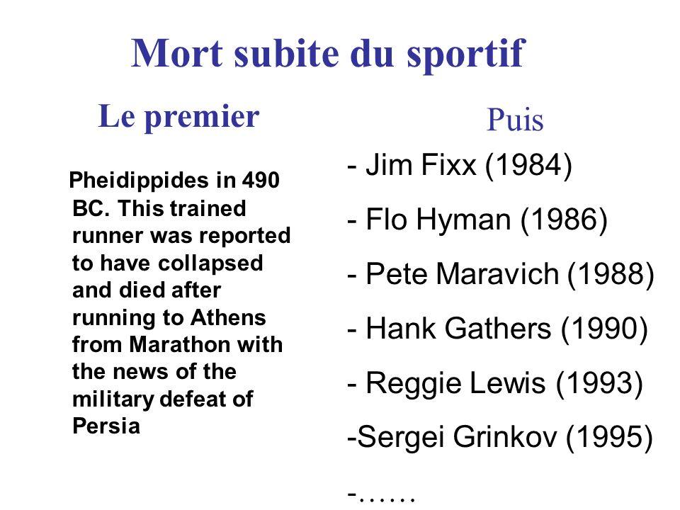- Jim Fixx (1984) - Flo Hyman (1986) - Pete Maravich (1988) - Hank Gathers (1990) - Reggie Lewis (1993) -Sergei Grinkov (1995) -…… Puis Le premier Mort subite du sportif Pheidippides in 490 BC.