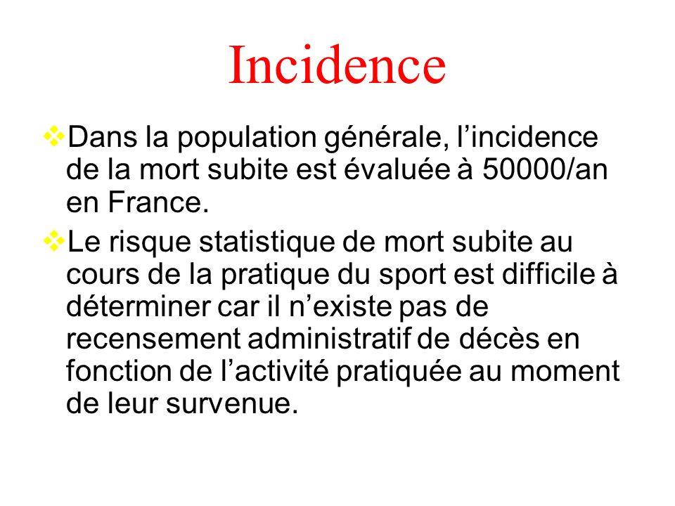 Incidence Dans la population générale, lincidence de la mort subite est évaluée à 50000/an en France.