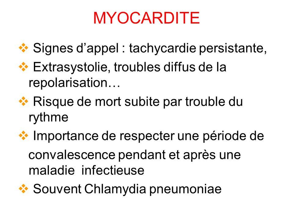 MYOCARDITE Signes dappel : tachycardie persistante, Extrasystolie, troubles diffus de la repolarisation… Risque de mort subite par trouble du rythme Importance de respecter une période de convalescence pendant et après une maladie infectieuse Souvent Chlamydia pneumoniae