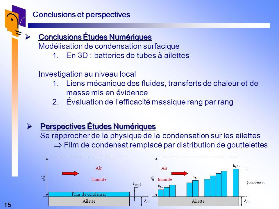 15 Conclusions Études Numériques Conclusions Études Numériques Modélisation de condensation surfacique 1.En 3D : batteries de tubes à ailettes Investi