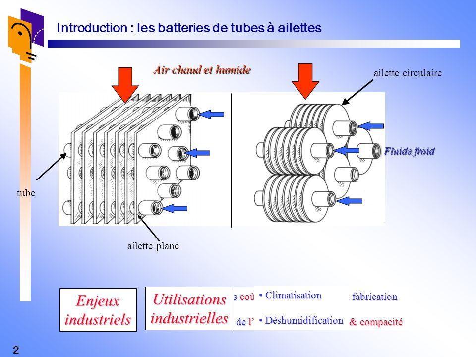 2 Air chaud et humide Fluide froid ailette circulaire tube Introduction : les batteries de tubes à ailettes Réduction des coûts dinvestissement de fab