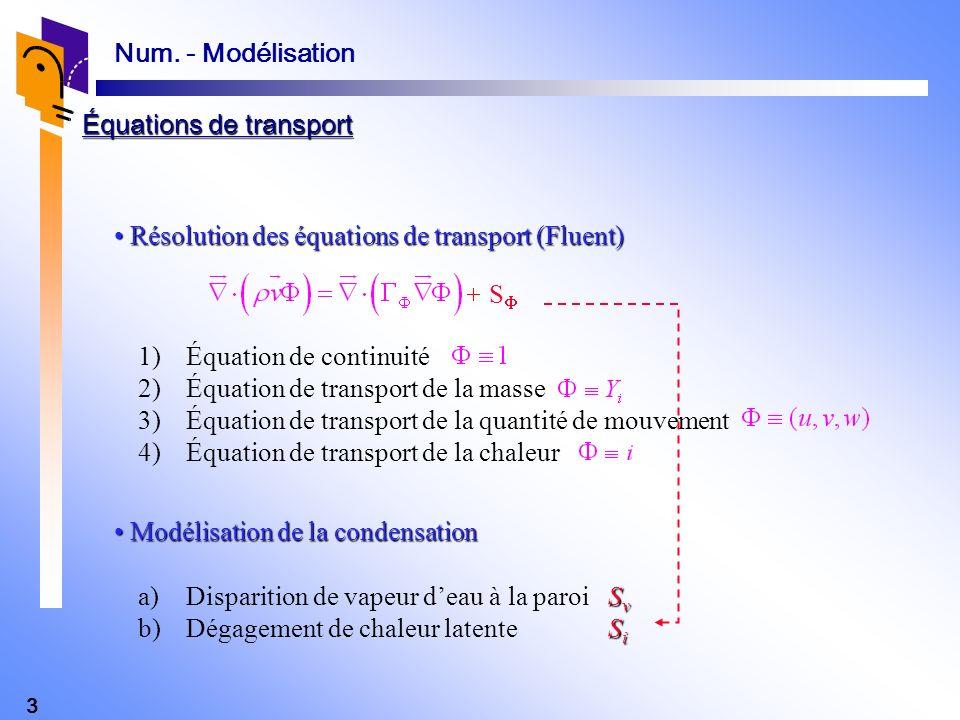 3 Num. - Modélisation Résolution des équations de transport (Fluent) Résolution des équations de transport (Fluent) Modélisation de la condensation Mo