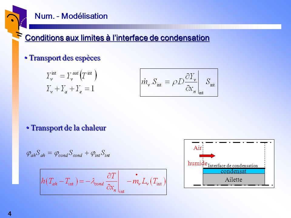 4 Transport des espèces Transport des espèces Transport de la chaleur Transport de la chaleur Ailette condensat Air humide Interface de condensation C