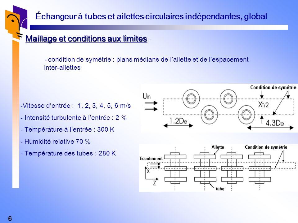 6 Échangeur à tubes et ailettes circulaires indépendantes, global Maillage et conditions aux limites Maillage et conditions aux limites : -Vitesse den