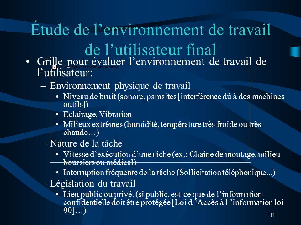 11 Étude de lenvironnement de travail de lutilisateur final Grille pour évaluer lenvironnement de travail de lutilisateur: –Environnement physique de
