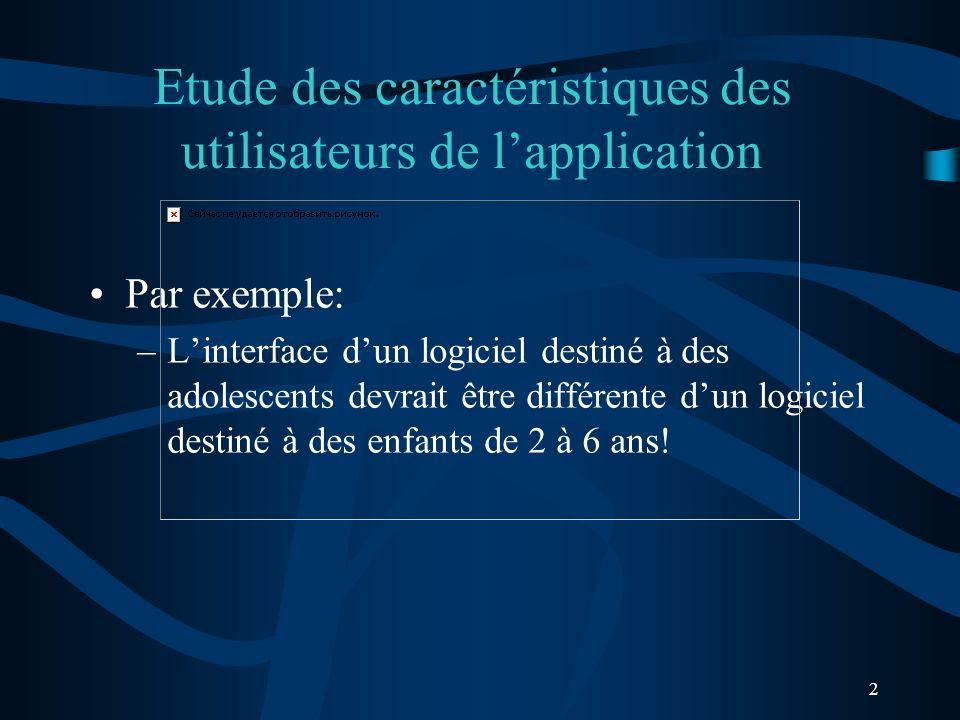 2 Etude des caractéristiques des utilisateurs de lapplication Par exemple: –Linterface dun logiciel destiné à des adolescents devrait être différente dun logiciel destiné à des enfants de 2 à 6 ans!