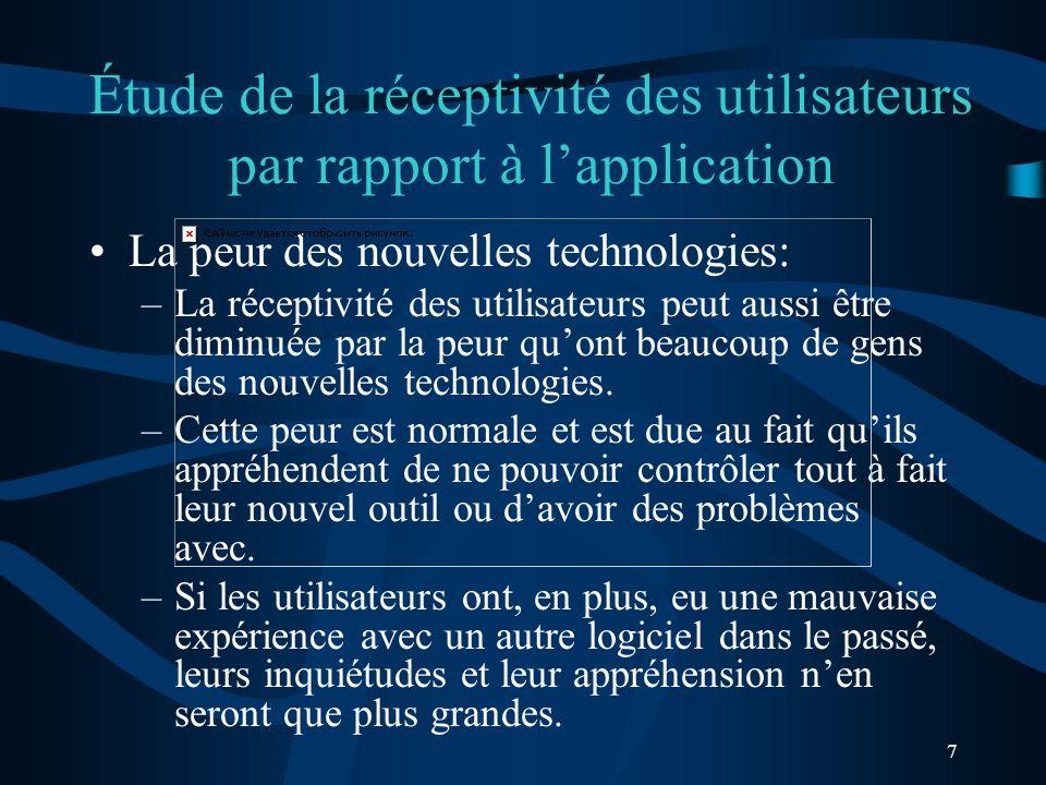 7 Étude de la réceptivité des utilisateurs par rapport à lapplication La peur des nouvelles technologies: –La réceptivité des utilisateurs peut aussi être diminuée par la peur quont beaucoup de gens des nouvelles technologies.