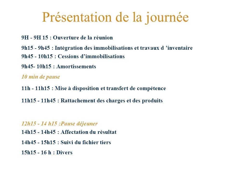 Présentation de la journée 9H - 9H 15 : Ouverture de la réunion 9h15 - 9h45 : Intégration des immobilisations et travaux d inventaire 9h45 - 10h15 : Cessions dimmobilisations 9h45- 10h15 : Amortissements 10 min de pause 11h - 11h15 : Mise à disposition et transfert de compétence 11h15 - 11h45 : Rattachement des charges et des produits 12h15 - 14 h15 :Pause déjeuner 14h15 - 14h45 : Affectation du résultat 14h45 - 15h15 : Suivi du fichier tiers 15h15 - 16 h : Divers
