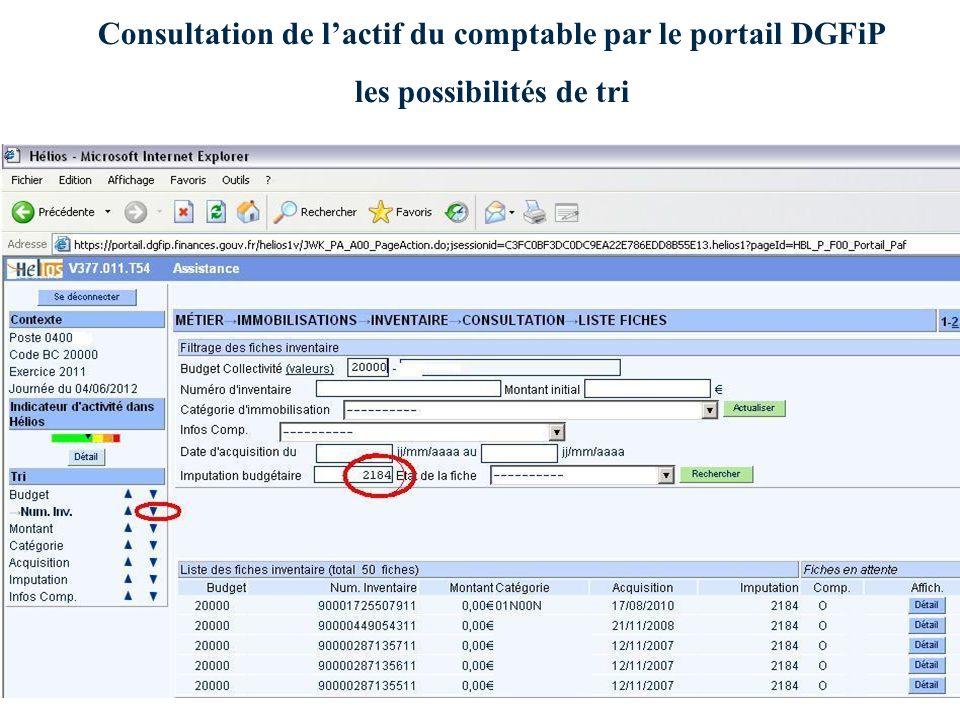 Consultation de lactif du comptable par le portail DGFiP les possibilités de tri