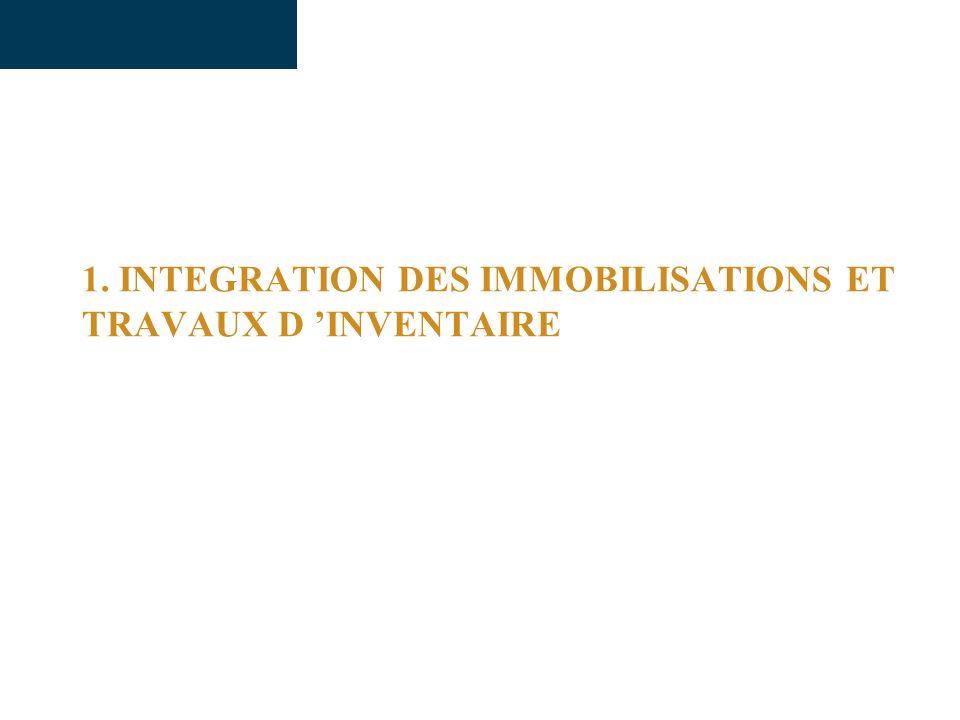 1. INTEGRATION DES IMMOBILISATIONS ET TRAVAUX D INVENTAIRE